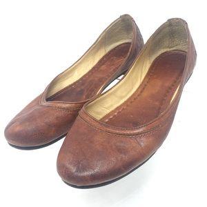 Frye Leather Carson Ballet Flat Cognac Sz 7B